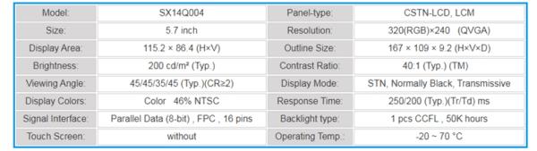"""Display Hitachi SX14Q004 de 5.7"""""""
